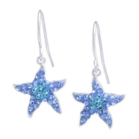 Silver Treasures Sterling Silver Starfish Blue Crystal Drop Earrings