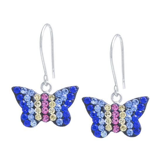 Silver Treasures Multi Color Crystal Sterling Silver Butterfly Drop Earrings