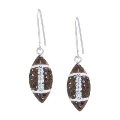 Silver Treasures Multi Color Crystal Sterling Silver Drop Earrings
