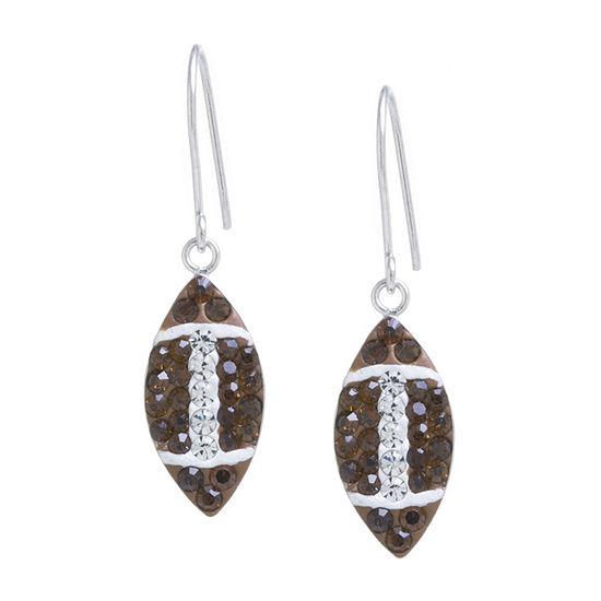 Silver Treasures 1 Pair Crystal Sterling Silver Drop Earrings