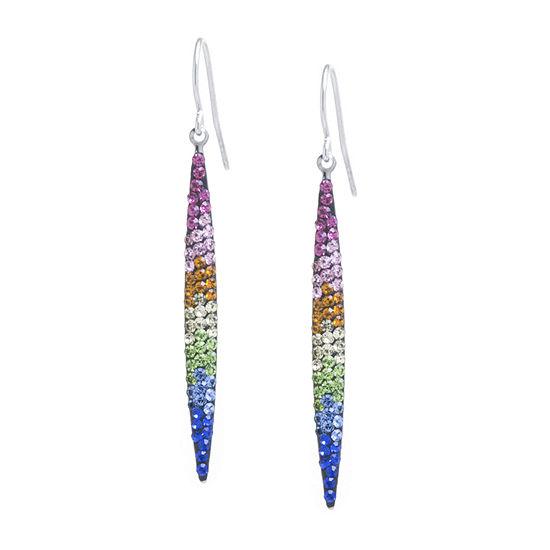 Silver Treasures 1 Pair Multi Color Crystal Sterling Silver Drop Earrings
