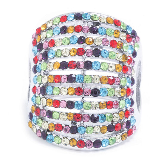 Sparkle Allure Womens Multi Color Crystal Pure Silver Over Brass Dome Cocktail Ring