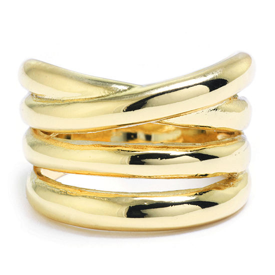 Sparkle Allure Womens 14K Gold Over Brass Band