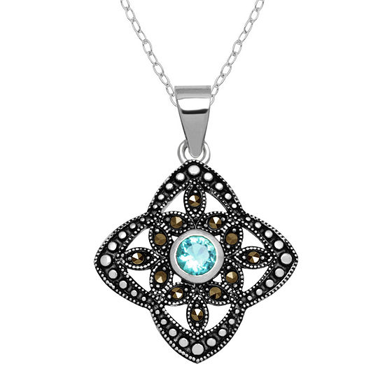 Sparkle Allure Marcasite Pure Silver Over Brass 18 Inch Cable Pendant Necklace