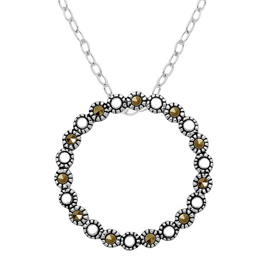 Sparkle Allure Womens Gray Marcasite Pure Silver Over Brass Round Pendant Necklace