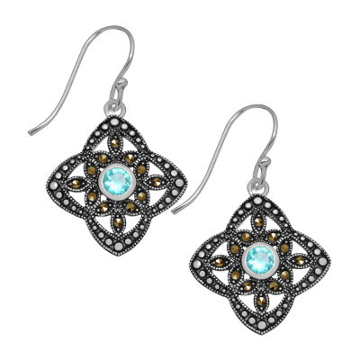 Sparkle Allure Gray Marcasite Pure Silver Over Brass Drop Earrings