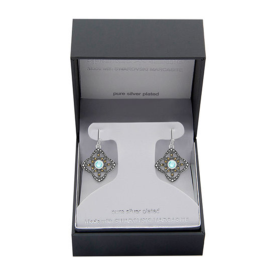 Sparkle Allure Marcasite Pure Silver Over Brass Drop Earrings