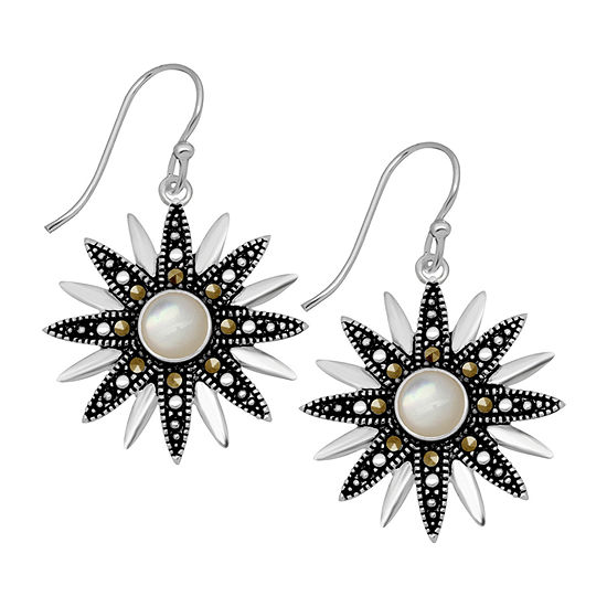 Sparkle Allure Gray Marcasite Pure Silver Over Brass Flower Drop Earrings