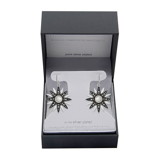 Sparkle Allure Marcasite Pure Silver Over Brass Flower Drop Earrings
