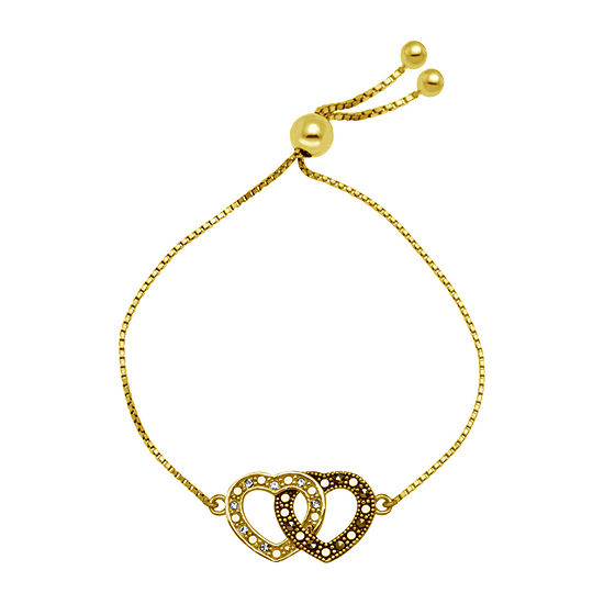 Sparkle Allure Gray Marcasite 14K Gold Over Brass Heart Bolo Bracelet