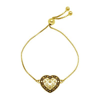 Sparkle Allure Gray Marcasite 14K Gold Over Brass Heart Bolo Bracelet