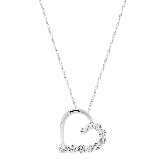 Sparkle Allure Clear Half Heart Pendant Womens Lab Created Cubic Zirconia Pure Silver Over Brass Heart Pendant Necklace