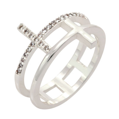 Sparkle Allure Womens Pure Silver Over Brass Cross Cocktail Ring