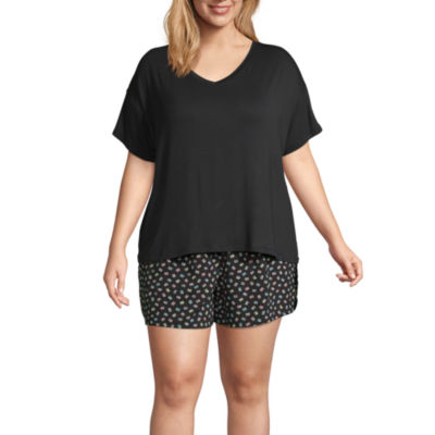 Ambrielle Womens Short sleeve 2-pc. Shorts Pajama Set  -Plus