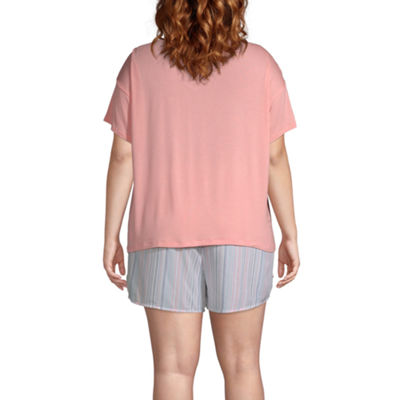 Ambrielle Womens Short sleeve 2-pc. Shorts Pajama Set  -Plus