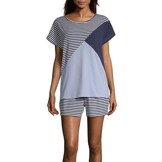 Liz Claiborne Womens Short Sleeve Shorts 2-pc. Pajama Set