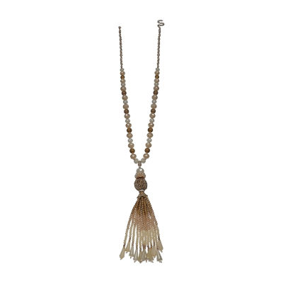 Mixit Tonal Bead Tassel Womens Brown Beaded Necklace