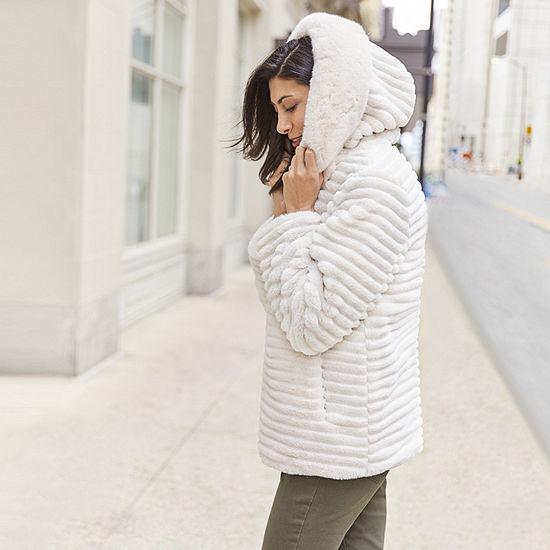 6f4975df1dc13 Liz Claiborne Faux Fur Hooded Heavyweight Faux Fur Coat - JCPenney