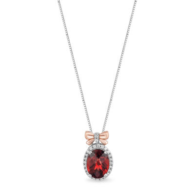 Enchanted Disney Princess Fine Jewelry Womens Genuine Red Garnet 14K Rose Gold Over Silver Pendant
