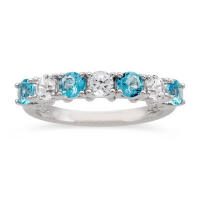 Womens Simulated Blue Aquamarine Sterling Silver Cocktail Ring