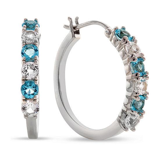 Simulated Blue Aquamarine Sterling Silver 17mm Hoop Earrings
