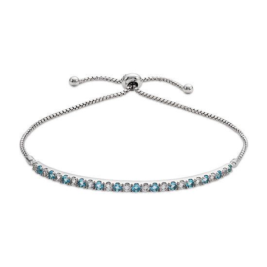 Simulated Blue Aquamarine Sterling Silver Charm Bracelet