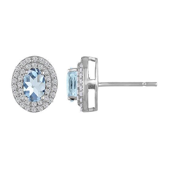 Simulated Blue Aquamarine Sterling Silver 10.2mm Stud Earrings