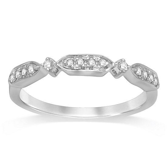 Womens 1/10 CT. T.W. Genuine White Diamond 10K Gold Band