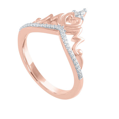 Womens 1/10 CT. T.W. Genuine Diamond 14K Rose Gold Over Silver Crown Cocktail Ring
