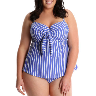 Lysa Striped Tankini Swimsuit Top-Plus