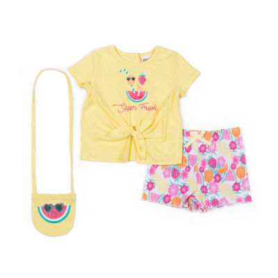 Little Lass 3-pc. Short Set Toddler Girls