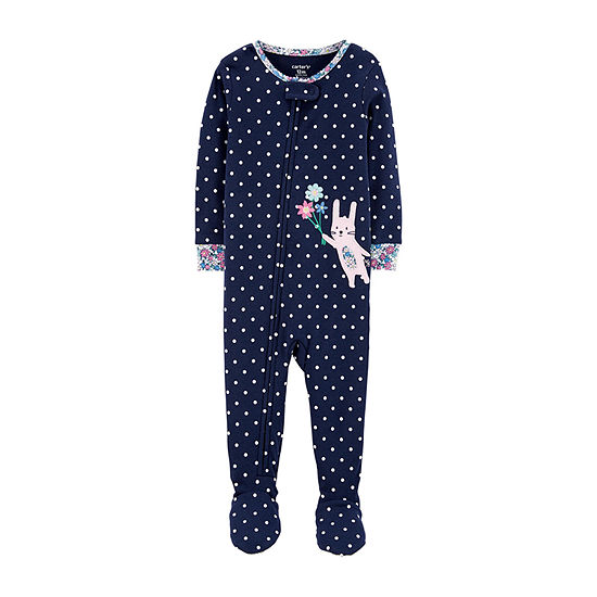 Carters Girls Knit One Piece Pajama Long Sleeve Round Neck