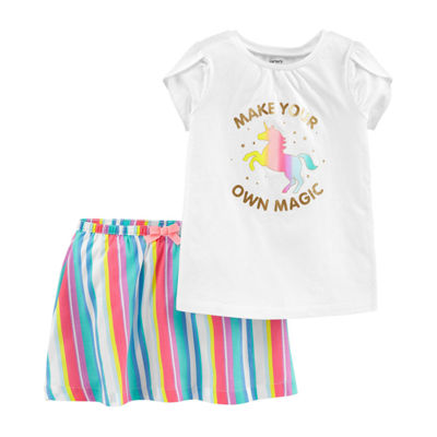 Sister & me-Short Sleeve Unicorn Top and Skort Set