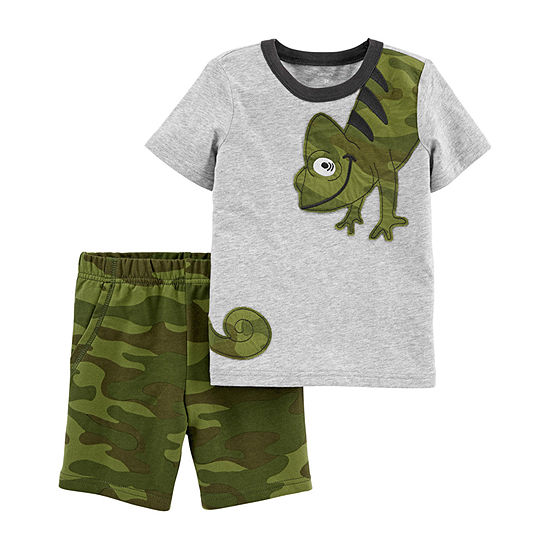 Brother & me-Carter's Short Sleeve Chameleon Tee & Terry Short Set