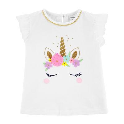 Carter's Girls Round Neck Short Sleeve T-Shirt-Toddler