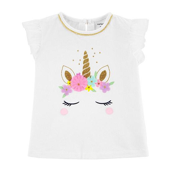 Carter's Girls Round Neck Short Sleeve Graphic T-Shirt-Toddler