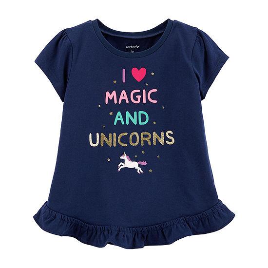 e3930c04 Carter's Girls Round Neck Short Sleeve Graphic T-Shirt-Toddler - JCPenney