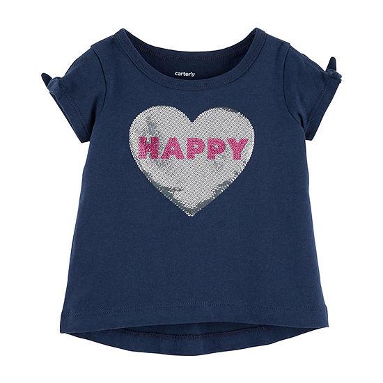 Carters Girls Round Neck Short Sleeve T Shirt Toddler