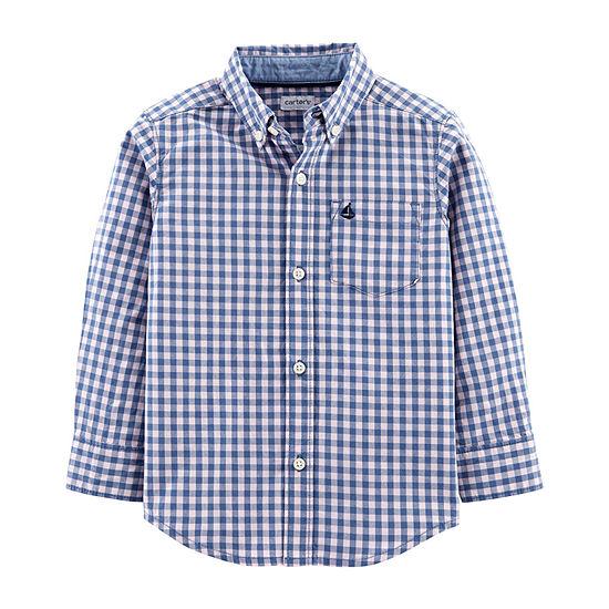0e5f1bd6 Carter's Boys Long Sleeve Button-Front Shirt Toddler - JCPenney
