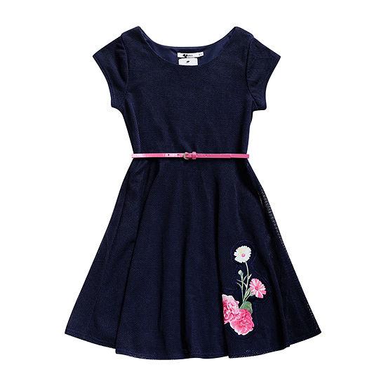 Obsess Belted Short Cap Sleeve A-Line Dress - Big Kid Girls