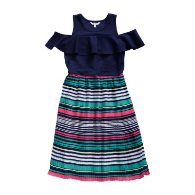 Obsess Belted Short Sleeve Cold Shoulder Sleeve Striped A-Line Dress Girls