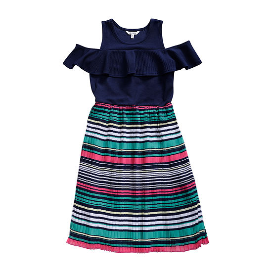 Obsess Girls Belted Short Sleeve Cold Shoulder Sleeve Striped A-Line Dress - Big Kid