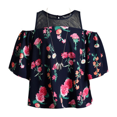 Obsess Girls Scoop Neck 3/4 Sleeve Blouse Big Kid