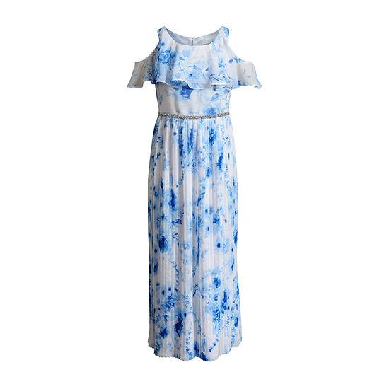 Emily West Girls Short Sleeve Cold Shoulder Sleeve Floral Maxi Dress - Preschool / Big Kid