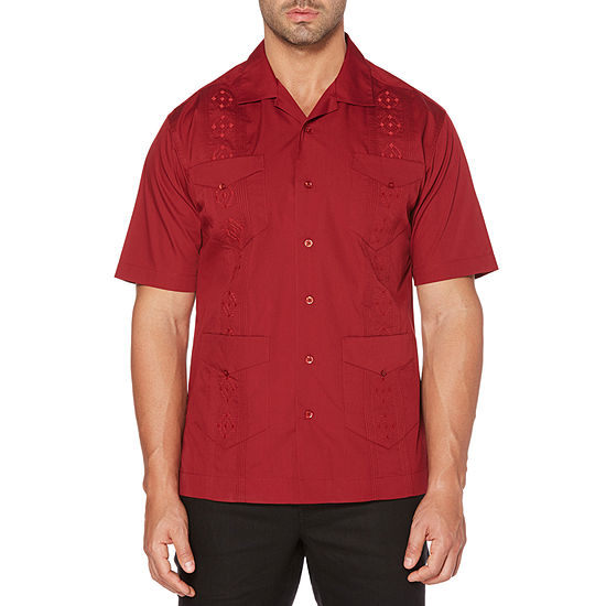 Cubavera Short Sleeve Embroidered Guayabera Button-Down Shirt