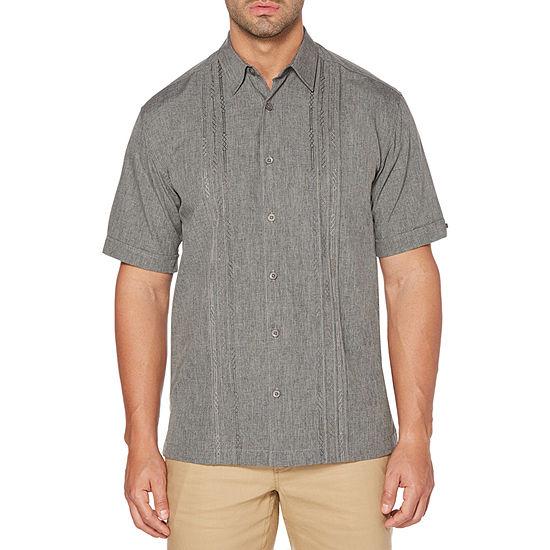 Cubavera Mens Short Sleeve Panel Button-Front Shirt