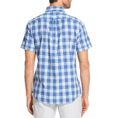 IZOD Chambray Woven Print Mens Short Sleeve Plaid Button-Front Shirt Big and Tall