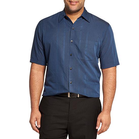 Van Heusen Big and Tall Mens Short Sleeve Moisture Wicking Striped Button-Down Shirt