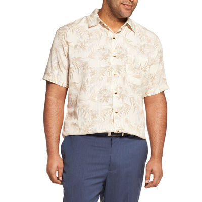 Van Heusen Mens Short Sleeve Moisture Wicking Button-Front Shirt Big and Tall