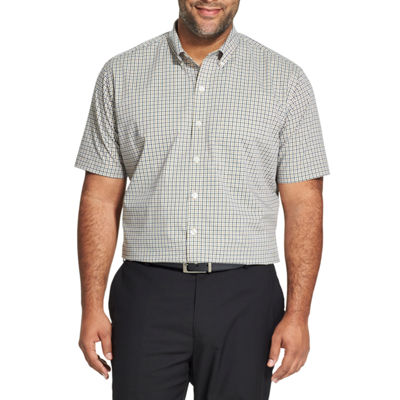 Van Heusen Mens Short Sleeve Checked Button-Front Shirt Big and Tall